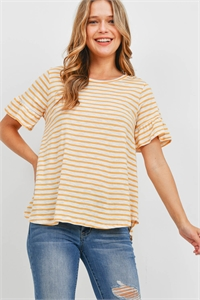 S16-6-1-PPT2400-YLW - BELL SLEEVES ROUND NECK STRIPES TOP- YELLOW 1-2-2-2