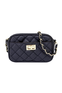 S17-9-1-PQ0017BLACK - FASHION QUILTED CAMERA CROSSBODY BAG/3PCS