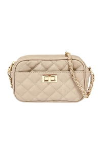S18-11-2-PQ0017NUDE - FASHION QUILTED CAMERA CROSSBODY BAG/3PCS