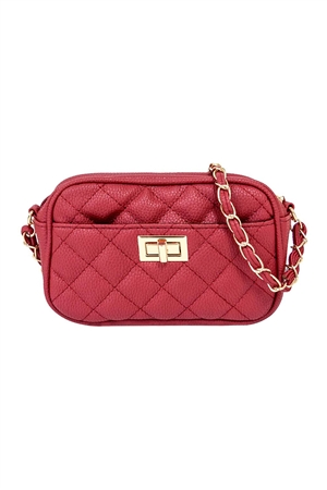 S18-9-1-PQ0017RED - FASHION QUILTED CAMERA CROSSBODY BAG/3PCS