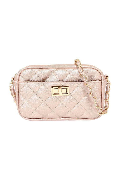 S18-9-1-PQ0017ROSEGOLD - FASHION QUILTED CAMERA CROSSBODY BAG/3PCS