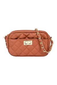 S17-9-1-PQ0017TAN - FASHION QUILTED CAMERA CROSSBODY BAG/3PCS
