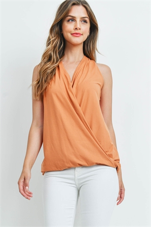 S13-5-2-PT-2387-BTROR - BRUSHED DTY SURPLICE HALTER TOP- BUTTER ORANGE 1-1-2-2