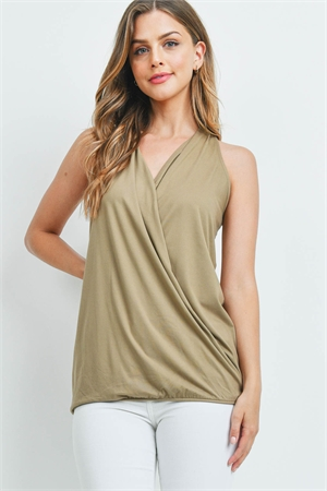 S13-5-2-PT-2387-KHK - BRUSHED DTY SURPLICE HALTER TOP- KHAKI 1-1-2-2