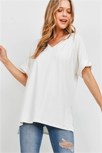 S9-17-1-PT-2456-IV - BRUSHED DTY ROLLED SHORT SLEEVE V-NECK TOP- IVORY 1-1-2-2
