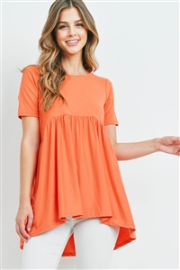 S11-5-4-PT-3211-ACPR - BRUSHED DTY SHORT SLEEVE WITH WAIST SHIRRING TOP- ASH COPPER 1-1-2-2