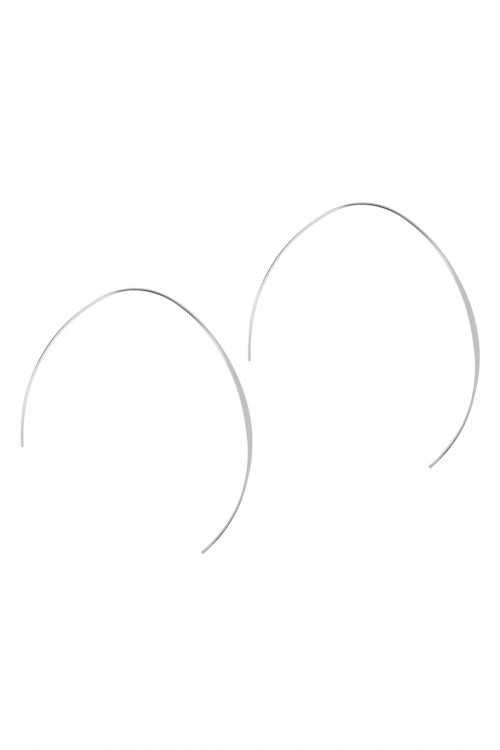 A2-3-3-QEA069SV SILVER 3 INCH WIRED OPEN 'U' EARRINGS/6PAIRS
