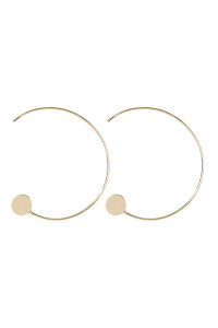 S22-10-5-QEA076GD - 1.5 INCH WIRED 'C' HOOP WITH DISC EARRINGS - GOLD/6PCS