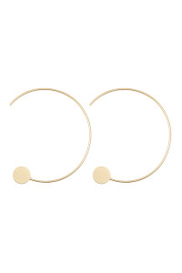 S22-10-5-QEA076MG - 1.5 INCH WIRED 'C' HOOP WITH DISC EARRINGS - MATTE GOLD/6PCS