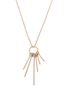 S22-5-3-QNA067WG - TWISTED WIRE ROUND LINE CLUSTER PENDANT NECKLACE - MATTE GOLD/6PCS