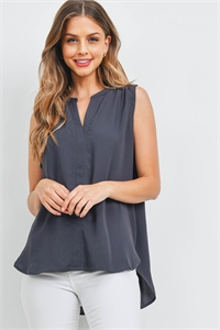 S6-3-2-QT-2657-AGY - WOVEN WOOL PEACH SPLIT NECK SLEEVELESS BLOUSE- ASH GREY 1-1-2-2