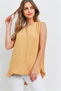 S7-9-1-QT-2657-LTMU - WOVEN WOOL PEACH SPLIT NECK SLEEVELESS BLOUSE- LIGHT MUSTARD 1-1-2-2