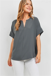 S10-5-3-QT-2704-AGY - HEAVY WOVEN SPAN SPLIT NECK SHORT SLEEVE TOP- ASH GREY 1-1-2-2