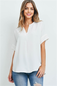 S10-5-3-QT-2704-IV - HEAVY WOVEN SPAN SPLIT NECK SHORT SLEEVE TOP- IVORY 1-1-2-2