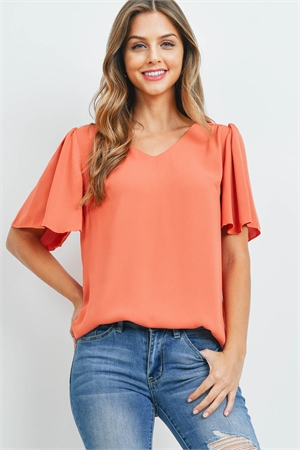 S14-12-4-QT-2716-ACPR - WATERFALL SLEEVE V-NECK ROUND HEM TOP- ASH COPPER 1-1-2-2