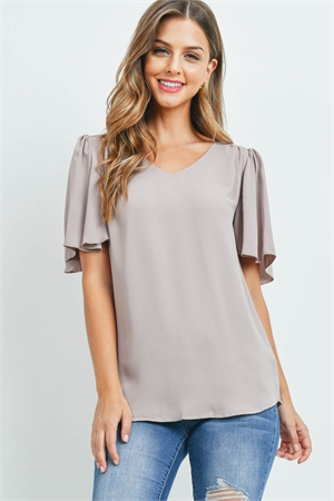 S14-12-4-QT-2716-AMC - WATERFALL SLEEVE V-NECK ROUND HEM TOP- ASH MOCHA 1-1-2-2