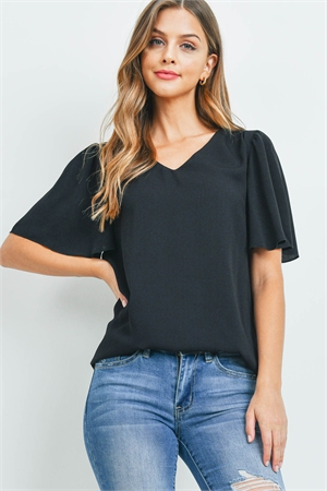 S9-20-3-QT-2716-BK - WATERFALL SLEEVE V-NECK ROUND HEM TOP- BLACK 1-1-2-2