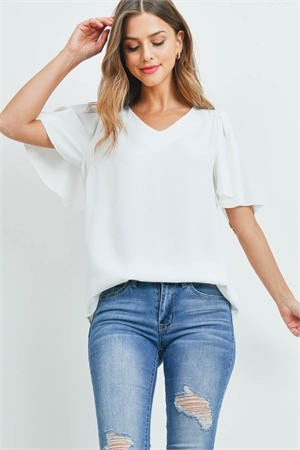 S16-4-4-QT-2716-IV - WATERFALL SLEEVE V-NECK ROUND HEM TOP- IVORY 1-1-2-2