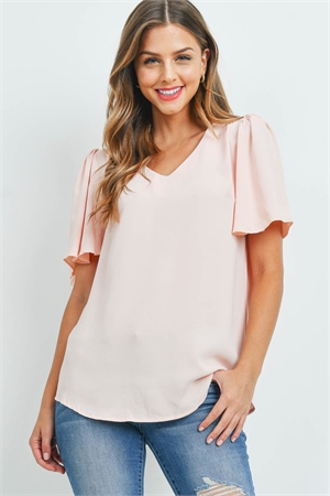 S14-11-4-QT-2716-LTPCH - WATERFALL SLEEVE V-NECK ROUND HEM TOP- LIGHT PEACH 1-1-2-2