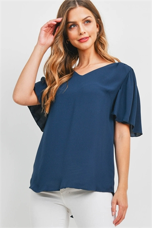 S15-7-4-QT-2716-MDNNV - WATERFALL SLEEVE V-NECK ROUND HEM TOP- MIDNIGHT NAVY 1-1-2-2