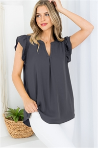 S14-8-2-QT-2744-AGY - SOLID RUFFLED SLEEVE TOP- ASH GREY 1-1-2-2