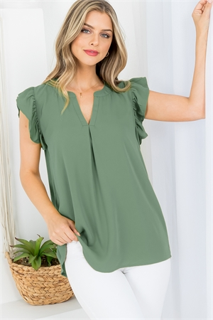 SA3-5-1-QT-2744-AOV - SOLID RUFFLED SLEEVE TOP- ASH OLIVE 1-1-2-2