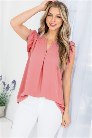 S10-6-2-QT-2744-ARS - SOLID RUFFLED SLEEVE TOP- ASH ROSE 1-1-2-2