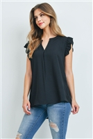 S16-10-1-QT-2744-BK - SOLID RUFFLED SLEEVE TOP- BLACK 1-1-2-2