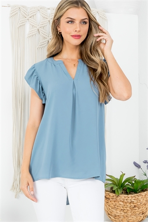 S13-2-1-QT-2744-BLGY - SOLID RUFFLED SLEEVE TOP- BLUE GREY 1-1-2-2