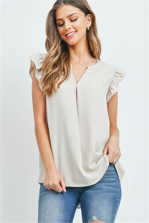 S15-12-4-QT-2744-BN - SOLID RUFFLED SLEEVE TOP- BONE 1-1-2-2