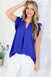 S16-10-2-QT-2744-BRTBL - SOLID RUFFLED SLEEVE TOP- BRIGHT BLUE 1-1-2-2