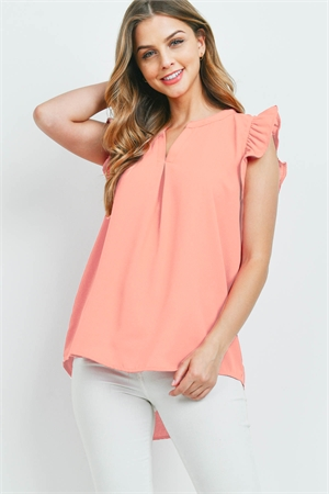 SA3-5-3-QT-2744-CRL - SOLID RUFFLED SLEEVE TOP- CORAL 1-1-2-2