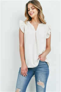S16-8-1-QT-2744-CRM - SOLID RUFFLED SLEEVE TOP- CREAM 1-1-2-2