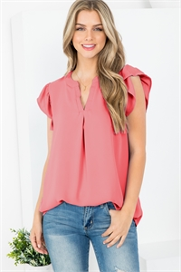 S16-12-1-QT-2744-DPCRL - SOLID RUFFLED SLEEVE TOP- DEEP CORAL 1-1-2-2