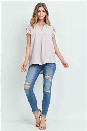 S15-12-2-QT-2744-DSTBLS - SOLID RUFFLED SLEEVE TOP- DUSTY BLUSH 1-1-2-2