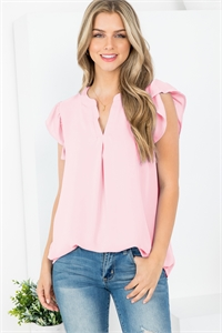 S15-11-1-QT-2744-DSTPK - SOLID RUFFLED SLEEVE TOP- DUSTY PINK 1-1-2-2