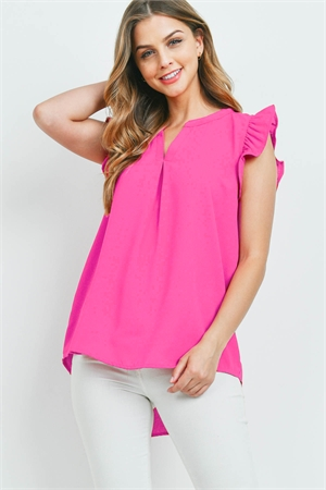 S13-10-2-QT-2744-FCH - SOLID RUFFLED SLEEVE TOP- FUCHSIA 1-1-2-2