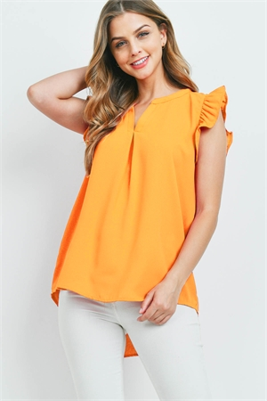 S13-11-1-QT-2744-GDMU - SOLID RUFFLED SLEEVE TOP- GOLDEN MUSTARD 1-1-2-2