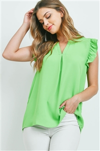 SA3-5-1-QT-2744-GN - SOLID RUFFLED SLEEVE TOP- GREEN 1-1-2-2