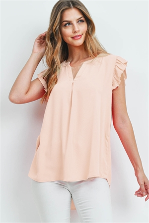S11-17-3-QT-2744-LTPCH - SOLID RUFFLED SLEEVE TOP- LIGHT PEACH 1-1-2-2