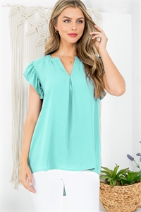 S15-12-4-QT-2744-MNT - SOLID RUFFLED SLEEVE TOP- MINT 1-1-2-2