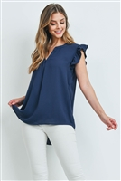 S15-8-3-QT-2744-NV - SOLID RUFFLED SLEEVE TOP- NAVY 1-1-2-2