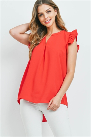 S13-1-1-QT-2744-RB - SOLID RUFFLED SLEEVE TOP- RUBY 1-1-2-2
