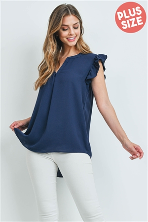 S4-10-3-QT-2744X-NV - PLUS SIZE SOLID RUFFLED SLEEVE TOP- NAVY 3-2-1