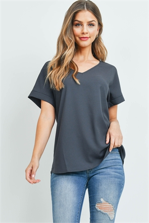 S6-3-2-QT-3501-AGY - CUFF SLEEVE V-NECK BLOUSE- ASH GREY 1-1-2-2