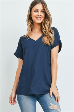 S5-2-2-QT-3501-NV - CUFF SLEEVE V-NECK BLOUSE- NAVY 1-1-2-2