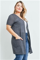 S15-8-1-RFC3008X-TIARA-CHL - SHORT SLEEVED TEXTURED PLUS SIZE CARDIGAN- CHARCOAL 3-2-1
