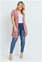 S9-10-1-RFC3008X-TIARA-MV - SHORT SLEEVED TEXTURED PLUS SIZE CARDIGAN- MAUVE 3-2-1