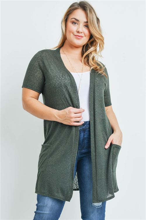 S9-9-1-RFC3008X-TIARA-OV - SHORT SLEEVED TEXTURED PLUS SIZE CARDIGAN- OLIVE 3-2-1
