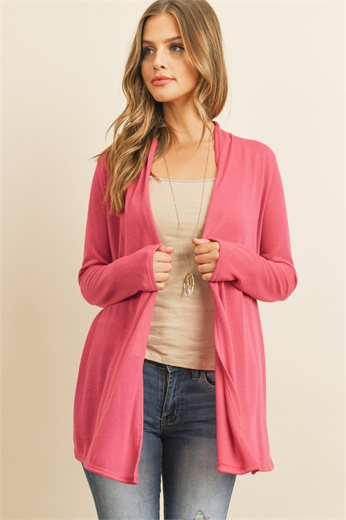 S10-10-2-RFC3009-PRS-FCH - SOLID CARDIGAN OPEN FRONT- FUCHSIA 1-2-2-2